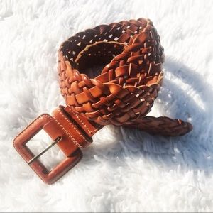 VTG Ann Taylor Brown Woven Leather Chunky Belt
